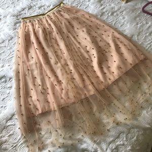 Dresses & Skirts - Pink tulle gold beaded midi skirt